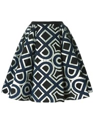 Antonio Marras Geometric Pattern Flared Skirt Blue