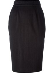 Dolce And Gabbana Vintage Striped Pencil Skirt Grey