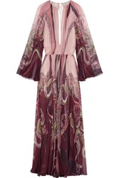 Roberto Cavalli Open Back Printed Silk Chiffon Gown Blush