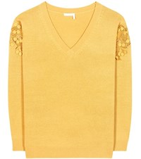 Chloe Merino Wool And Cashmere Sweater With Lace Yellow
