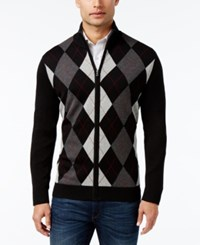 Club Room Men's Zip Front Argyle Sweater Only At Macy's Deep Black