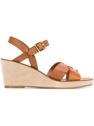 A.P.C. Crossover Strap Wedge Sandals Nude And Neutrals