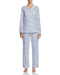 Eileen West Long Pajama Set Winterwhite Blue Multi Scroll