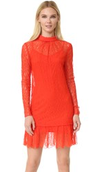 Mcq By Alexander Mcqueen Lace Long Sleeve Dress True Red