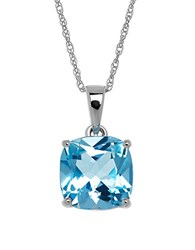Lord And Taylor Blue Topaz 14K White Gold Pendant Necklace