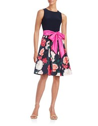 Eliza J Floral Fit And Flare Dress Navy