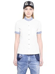 Diesel Cotton Poplin Shirt With Denim Collar White