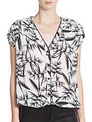 Alice Olivia Eugenie Leather Accented Blouse Botanical Ink