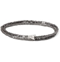 Luis Morais Hematite Bead And White Gold Wrap Bracelet Gray