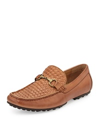 Neiman Marcus Palermo Woven Leather Driver Tan