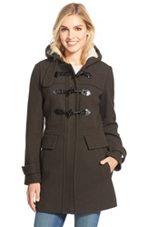 London Fog Wool Blend Duffle Coat With Faux Shearling Lined Hood Olive