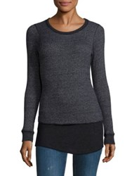 Monrow Double Layer Thermal Sweater Black