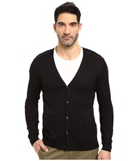 John Varvatos Long Sleeve Cardigan Sweater W Contrast Piping Y1327s3b Black Men's Sweater