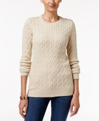 Charter Club Embellished Cable Knit Sweater Only At Macy's Sweet Cream Combo
