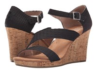 Toms Clarissa Wedge Black Textile Cork Women's Wedge Shoes