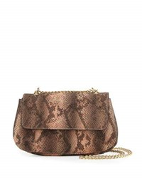Neiman Marcus Snake Embossed Faux Leather Crossbody Bag Apricot Snake