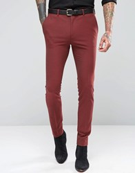 Asos Super Skinny Suit Trousers In Dark Red Mixed Red