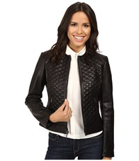 Cole Haan Collarless Moto Diamond Quilted Leather Jacket Black Women's Coat