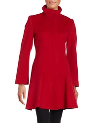 Sofia Cashmere Button Front Wool Coat Red
