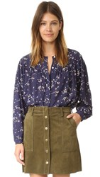 Steven Alan Lyrical Silk Top Navy Ditsy Print