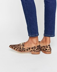 Asos Mysterious Pointed Loafers Leopard Multi
