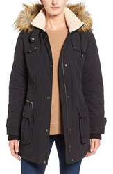 Halogenr Women's Halogen Hooded Anorak With Faux Fur Trim Black