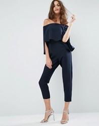 Asos Ruffle Bardot Jumpsuit With Split Sleeve Detail Navy Blue