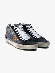 Golden Goose Mid Star Leather And Glitter Sneakers Multi Coloured Almond Silver Leopard Black Bl