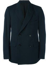 Christophe Lemaire Double Breasted Buttoned Blazer Blue