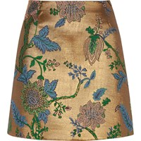 River Island Womens Gold Floral Embroidered Mini Skirt