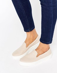 Asos Doodle Slip On Trainers Nude Pink