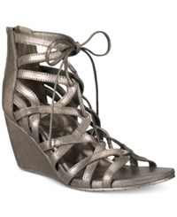 Kenneth Cole Reaction Women's Cake Pop Gladiator Lace Up Wedge Sandals Women's Shoes Pewter