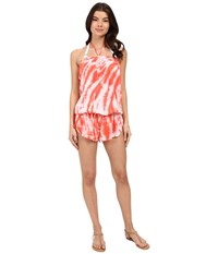 Lucky Brand Fireworks Romper Cover Up Tropical Punch Women's Swimsuits One Piece Pink