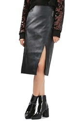 Topshop Women's Faux Leather Wrap Midi Skirt