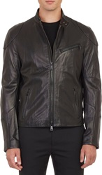 Ralph Lauren Black Label Leather Cafe Racer Jacket Black Size S