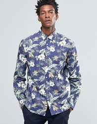 Celio Slim Fit Shirt With All Over Floral Print Encre Navy