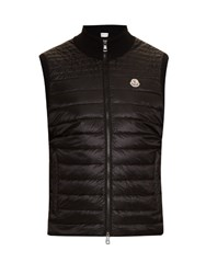 Moncler Nylon And Knit Down Filled Gilet Black