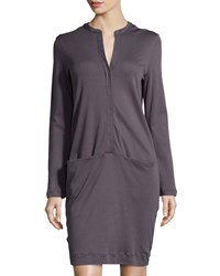 Hanro Clarisse Long Sleeve Gown Charcoal Grey