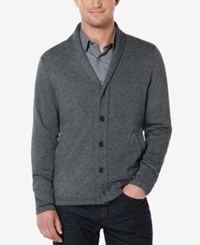Perry Ellis Men's Big And Tall Shawl Collar Marled Cardigan Charcoal