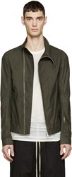 Rick Owens Green Leather Mollino's Biker Jacket