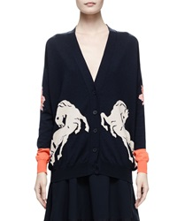 Stella Mccartney Horse Intarsia Knit Cardigan Midnight Black