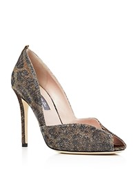 Sarah Jessica Parker Sjp By Naomi Metallic Glitter Peep Toe Pumps Cartel Gold