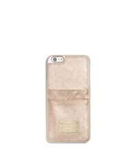 Michael Kors Metallic Leather Pocket Case For Iphone 6 Plus Pale Gold