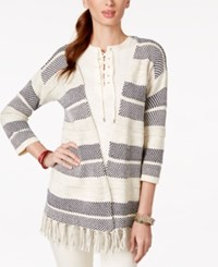 American Living Fringe Striped Sweater Cardigan Only At Macy's Cream Multi