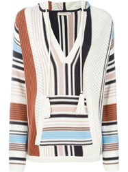 Tory Burch Striped Hooded Jumper Nude And Neutrals