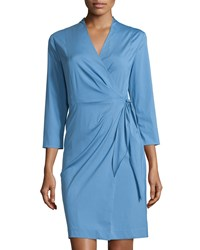 Lafayette 148 New York Dolly 3 4 Sleeve Wrap Dress Vista Blue