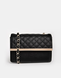 Asos Quilted Shoulder Bag With Metal Bar And Wrapped Chain Strap Black