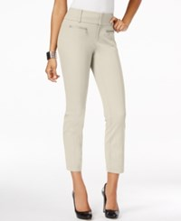 Inc International Concepts Petite Straight Leg Cropped Zipper Pocket Pants Only At Macy's Toad Beige