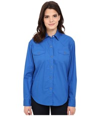 Roper L S Solid Basic Snap Front Blue Women's Long Sleeve Button Up