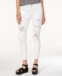 Tinseltown Juniors' Ripped Cropped Skinny Jeans Optic White